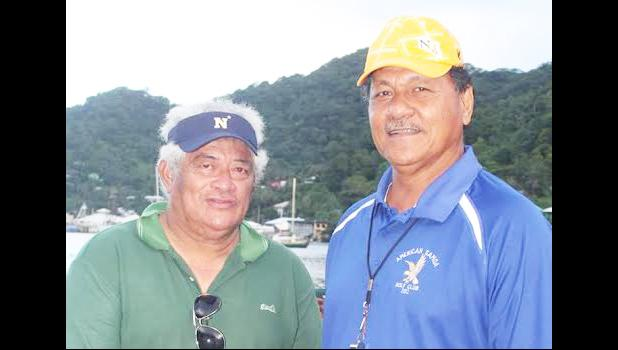 Leotiti Maselino Ioane (left) built 4 of the fautasi boats — Paepaeulupoo of Aua, Fuao of Vatia, Sinapioa of Fagaitua High School, God is Great of Pago Pago —  that raced in last week's Flag Day fautasi regatta — the Heats, the Exhibition Race and the final 2017 Flag Day Championship Race; and they all placed. He is pictured here with Senate President Gaoteote Tofau Palaie. [courtesy photo]