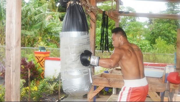 Petelo Matagi during his training with the American Samoa Boxing Federation last week. [photo AF]