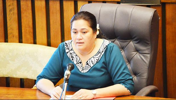 Ruth Matagi-Fa'atili during her Senate confirmation hearing as Development Bank of American Samoa president last Thursday. She was later confirmed for a second term and her appointment is subject to Senate confirmation only.  [photo: AF]
