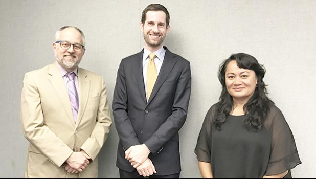 [l-r] Matt Salo, executive director of National Association of Medicaid Directors, Brian Neale, Medicaid advisor to US Secretary of Health and Human Services, Thomas E. Price, and Sandra King Young, Medicaid Director for American Samoa, after a meeting this week in Washington to discuss Medicaid issues for American Samoa and the territories. [photo: ASG]