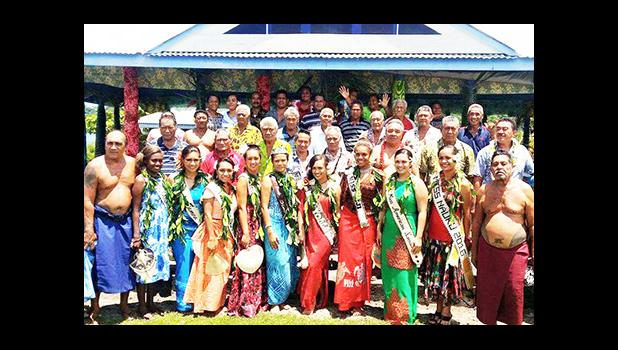 The contestants of the Miss Pacific Islands with chiefs of Safune after the ava ceremony earlier this week. [photo: Miss Pacific Islands Facebook]