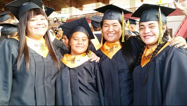 Some of the beautiful Lady Wildcats of Nuuuli Vocational Technical High School's Class of 2017. [photo: Blue Chen-Fruean]