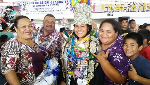 NVTHS Class of 2017 Salutatorian, Fuamai Tago was showered with congratulatory words, kisses, and hugs from family members and friends last Friday when the Home of the Wildcats bid farewell to 74 seniors. [photo: Blue Chen-Fruean]
