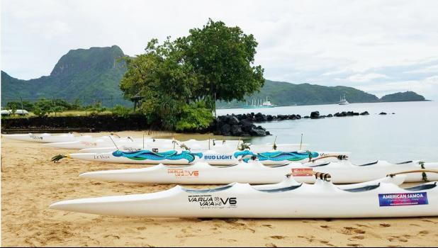 American Samoa Association of Paddlers and major sponsors American Samoa Visitors Bureau, SteinIager, National Pacific Insurance, SoPac Distributors (Budlight), and Sadie's Hotels gathered on Tuesday afternoon for the blessing of the 6 new outrigger canoes in Utulei. [photo: Ese Malala]