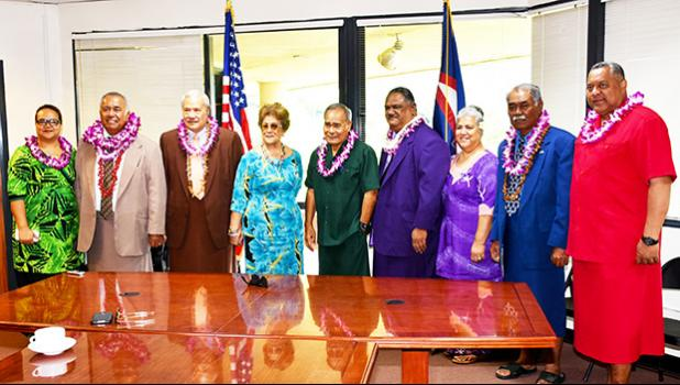 In this recent file photo of Lualemaga Faoa, he is seen standing next to Lt. Gov. Lemanu P. Mauga (far right) in a group photo with Gov. Lolo M. Moliga (center) and Secretary of Samoan Affairs Mauga Tasi Mauga (third from left), after being sworn in as the Western District Governor three weeks ago, at the Office of Samoan Affairs.  [OSA courtesy photo]