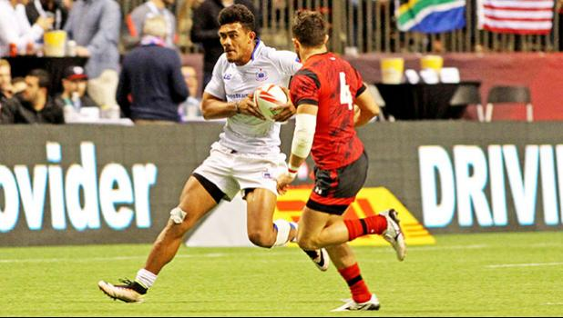 Joe Perez valiantly strives to create a spark in Manu Samoa's scoreless second half in their demoralizing 21-14 loss to Wales in Day 1 Canada 7s BC Place, Vancouver, Canada.  [Photo; Barry Markowitz]