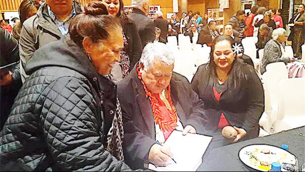 "Managing Director and Owner of S.S.A.B, Fiti Leung Wai (right) is seen with Samoa Prime Minister Tuilaepa (center) during the event that launched ""Palemia"", a book narrated by the PM to Dr. Peter Swain, in NZ last week.  The book is only available at S.S.A.B branches: in Samoa: Megastore, Lotemau, Salelologa, Vaivase; in New Zealand: S.S.A.B Auckland Sei – Oriana; and, in American Samoa: S.S.A.B Pago.   [Courtesy photo]"
