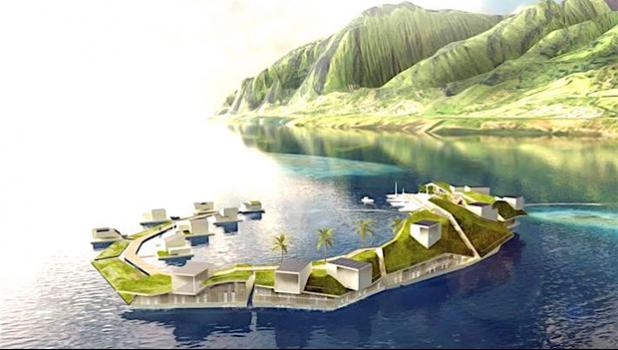 A concept for the floating island project in French Polynesia. The creators of a man-made floating island off Tahiti say they want a quarter of its population to be made up of Polynesian people.  [Photo: Supplied]