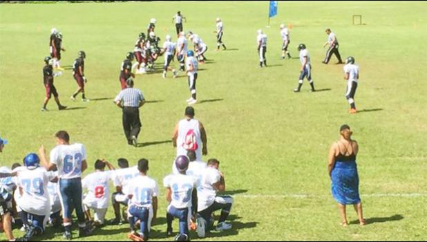 St Joseph's College students up against Tafuna High School at the inaugural game last month.  [photo: Samoa Observer]