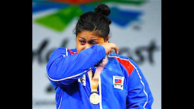 An emotional Feagaiga Stowers at Monday's medal ceremony.   [photo: Stuff NZ]