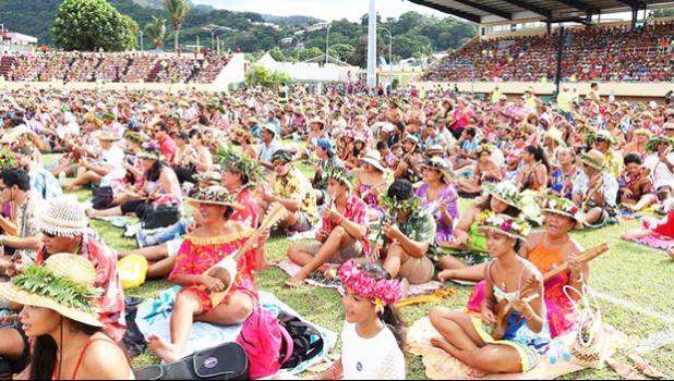 The Tahiti ukulele world record attempt.  (Photo: Supplied/ Présidence de la Polynésie française)