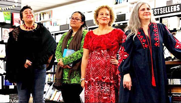 L-R Sia Figiel, Mere Taito, Karlo Mila and Janet Steele.  [photo: Ash Miles/Unity Books Wellington]