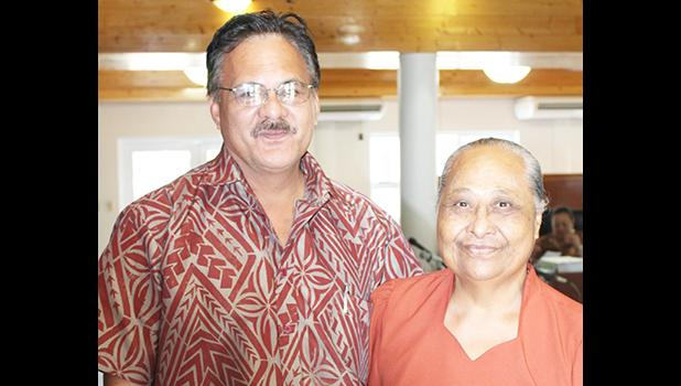 Senator Fonoti Tafa'ifa Aufata with Senator Paepae Iosefa Faiai who was confirmed yesterday by the Senate as an associate judge of the High Court of American Samoa. [photo: FS]