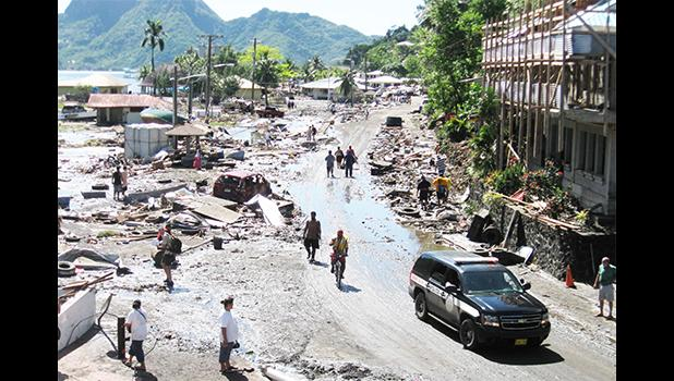 A scene from Pago Pago as the tsunami waters receded on Sept. 29, 2009. [SN file photo]