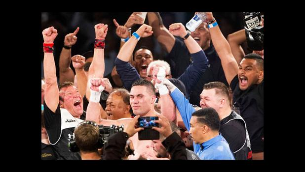 Joseph Parker and trainer Kevin Barry (left) celebrates after beating Andy Ruiz to win the WBO world boxing heavyweight title. [photo: PHOTOSPORT via Stuff NZ]