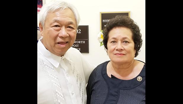 Congresswoman Amata with Mr. Pascua in Washington, D.C. for the ceremony honoring Filipino veterans. [Courtesy photo]