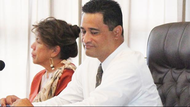 Port Administration director Taimalelagi Dr. Claire Poumele (left) and Attorney General Talauega Eleasalo Ale (right) during Tuesday's Senate Transportation/ Port Committee on the proposed hikes in port fees and charges.  [photo: FS]