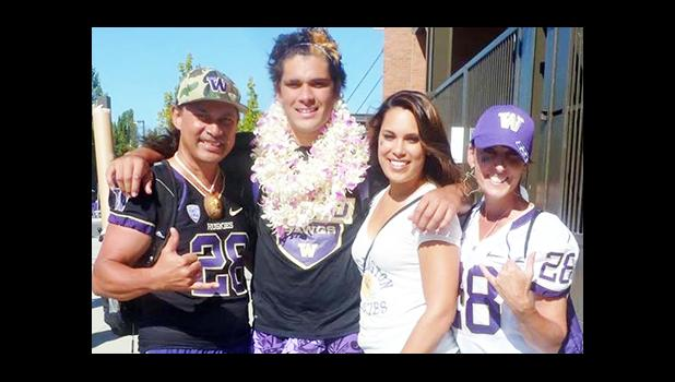 Psalm Fa'afoisia Pulemagafa Wooching, co-captain of the Pac-12 champions, the UW Huskies football team, is undecided on his future plans but many who have followed his collegiate career predict that he will be a late round pick in April's NFL draft.  [photo: courtesy]