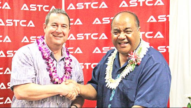 Remi Galasso, CEO of Hawaiki and Pule Tufele, Executive Director of ASTCA at the signing. [courtesy photo]
