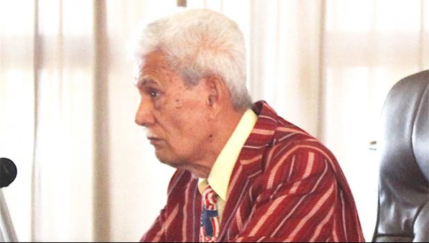 Pulu Ae Ae Jr. was the only witness at last Friday's public hearing in the Senate on a measure seeking to give the Fono the authority to override the governor's veto of an approved Fono bill. He said the public is not comfortable testifying before the Senate — it needs village level meetings.  [photo: FS]