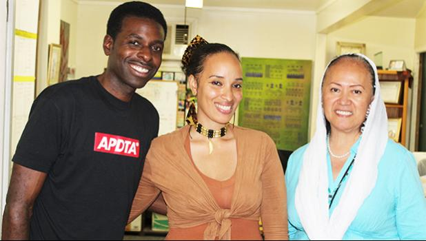 Samoan award film director, Queen Muhammad Ali (middle) with her husband Hakeem Khaaliq (left) and her mother Marie Olioli Leiato Tuiasosopo (right) following an interview at the Samoa News office on Tuesday. [photo: FS]