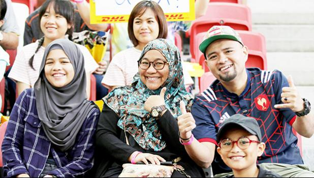 Rugby and its fans share a positive infinite diversity. Singapore Sevens, Day 1, National Stadium, Singapore. [Photo: Barry Markowitz]