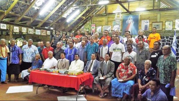 Sasina village council with church ministers and MP Laaulialemalietoa Leuatea Polataivao Schmidt. [Photo: RNZ Pacific/Autagavaia Tipi Autagavaia]
