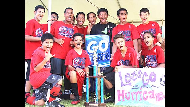 Samoa Baptist Academy's 7-8 boys team — champions of their division for the 2017 FFAS Private Elementary Schools Soccer League.  [FFAS MEDIA/Brian Vitolio]