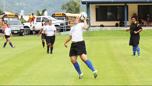 A Samoana player in action against Leone during an ASHSAA Girls varsity soccer game on Monday, Feb. 3, 2017 at Pago Park Soccer Stadium.  [FFAS MEDIA/Brian Vitolio]