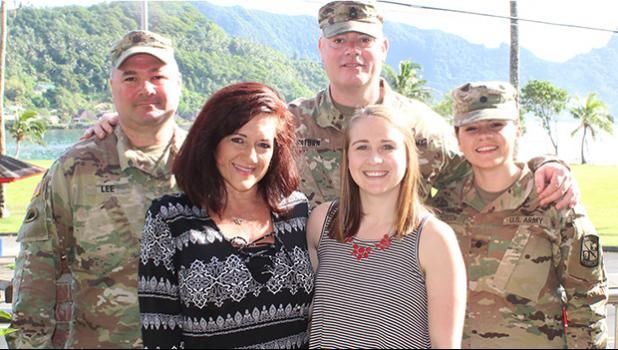 The five member Southern Oregon University delegation that arrived last week Friday and returns to Oregon tonight, talking to local students and parents about what SOU offers in academic and ROTC programs.  [l-r back row] Lt. Col. Travis Lee; Sgt. First Class Joe Watson; ROTC Cadet Alyssa Moutsatson. [l-r front row] SOU director of admissions Kelly Moutsatson; SOU admissions counselor Erin Doering. [photo: FS]