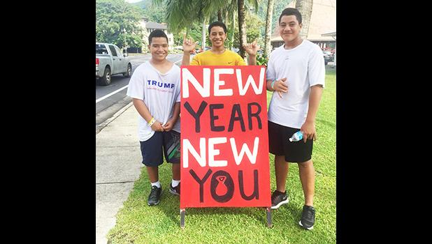 Three local boys finishing their 3 hours of workouts at the South Pacific Watersports & Fitness New Year New You Fitness Party in Utulei, last Saturday. It was a SPW open house to kick start your goals to live a healthy & fit life.  [Photo: Ese Malala]