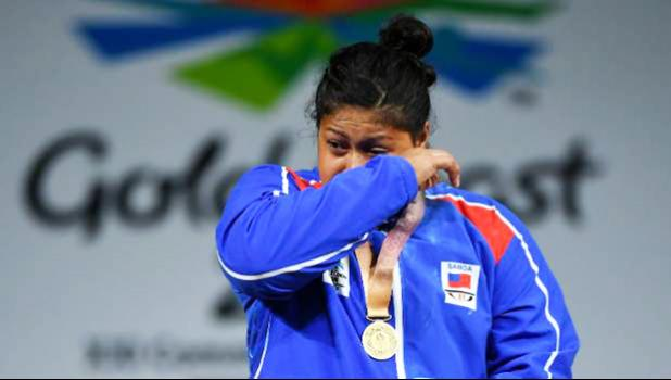 An emotional Feagaiga Stowers at Monday's medal ceremony. [ GETTY IMAGES   via Stuff NZ]