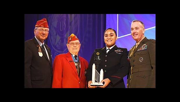 "(l-r) American Legion National Commander Dale Barnett; Hershel ""Woody"" Williams, Medal of Honor recipient; US Navy Petty Officer Second Class, Levetina King; and General Joseph F. Dunford, Chairman Joint Chiefs of Staff — pictured Tuesday during the American Legion's Spirit of Service Award ceremony in Cincinnati. King, a native of American Samoa, received the Spirit of Service Award in ""recognition of her extensive volunteer efforts."" [photo: Lucas Carter/The American Legion]"