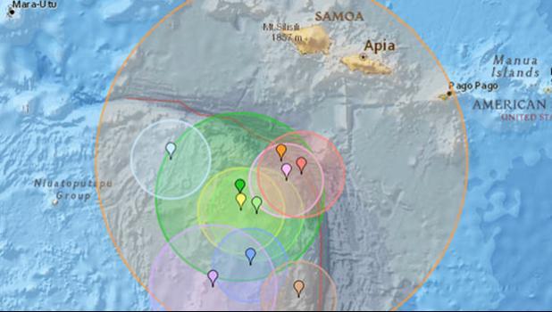 A 6.9 magnitude earthquake hit Samoa Sat night in Samoa, which was Friday night in Am. Samoa. [Pacific Tsunami Warning Center]