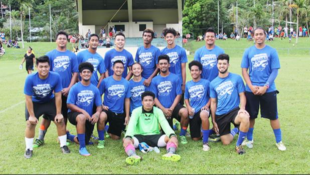 The Samoana Sharks varsity squad, after their 1-0 semifinal win over Iakina on Tuesday, May 2, 2017 at Pago Park Soccer Stadium. The Sharks will play in the championship game against the SPA Dolphins today.  [FFAS MEDIA/Brian Vitolio]