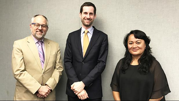 In this March 2017 file photo, [l-r] Matt Salo, executive director of National Association of Medicaid Directors, Brian Neale, Medicaid advisor to US Secretary of Health and Human Services, Thomas E. Price, and Sandra King Young, Medicaid Director for American Samoa, ae pictured after a meeting in Washington where they discussed Medicaid issues for American Samoa and the territories. [photo: ASG]