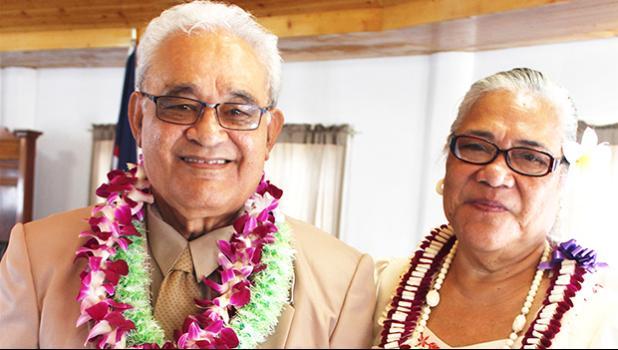 Newly sworn-in senator for Alataua county, Sauitufuga Masefau Pita Suiaunoa (left) with his wife, Taumaoe Lafaele Suiaunoa, posing for a photo in the Senate chamber, yesterday, after a brief swearing in ceremony. [photo: FS]
