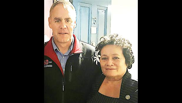 Congresswoman Aumua Amata with Secretary Ryan Zinke. The two discussed marine monuments and the need for restored fishing access.   [courtesy photo]