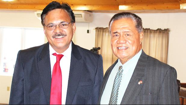 Sen. Paepae Iosefa Faiai with Sen. Nuanuaolefeagaiga Saoluaga Nua yesterday in the Senate chambers where earlier in the day, Paepae appeared before the Senate Government Operations Committee for his confirmation hearing that'll make him an associate judge. The full Senate confirmation vote is expected soon. [photo: FS]