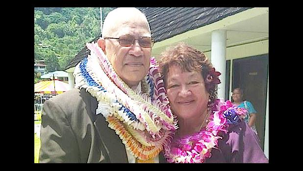 A military man turned lawmaker, Senator Tilo Vasaga and his wife Christine pose for the Samoa News camera after the brief swearing-in ceremony for all faipule and senators of the 35th Legislature yesterday morning.  [photo: Blue Chen-Fruean]