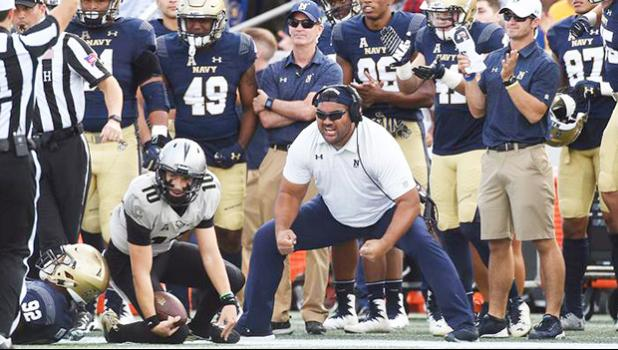 Shaun Nua, who starred at Brigham Young University and played professionally with the Pittsburgh Steelers, has consistently build a solid defensive line during his time at Navy. (Phil Hoffmann via Gazette)