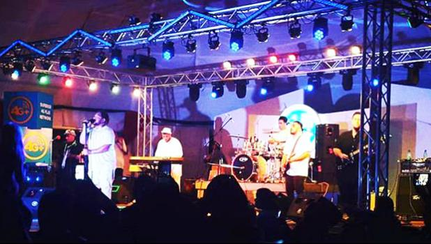Last Saturday night, Spawnbreezie and local musicians joined together in a concert hosted by Bluesky Communications at the Fagatogo Pavilion. It was Spawnbreezie's first concert on island. The laser light show was also a first for the island.  [Courtesy photo]