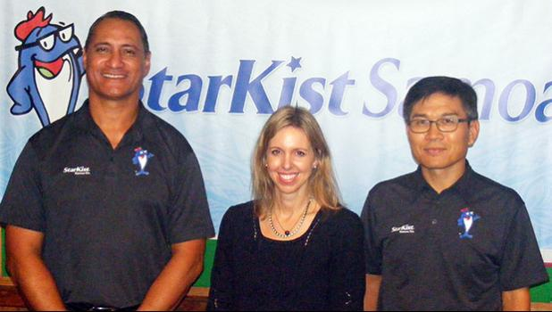 StarKist Samoa official Taotasi Archie Soliai; StarKist Co., vice president of corporate communication, Michelle Faist; and StarKist Samoa general manager C. Kwon, following a news conference last Friday afternoon at the StarKist Samoa headquarters.  [photo: FS]