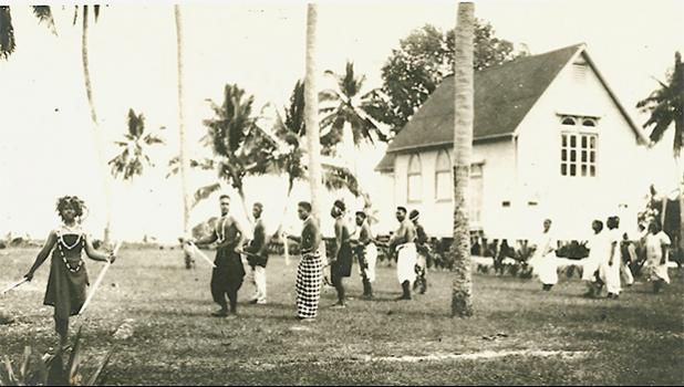 This Jennings family historical photo provided by Rep. Su'a Alexander E. Jennings, shows a group of Swains islanders in May 1925 on Swains, as the atoll officially became part of American Samoa, following Congressional action.  [photo: Jennings family]