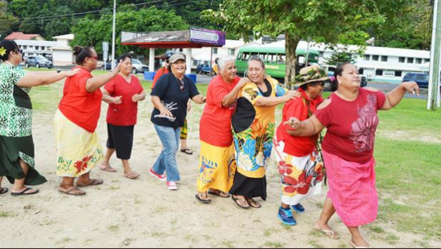 One of the activities yesterday — day-three of Senior Citizen Week in American Samoa — was dancing, of all types as seen in this photo with some senior citizens participating in a line dance at Su'igaula o le Atuvasa at Utulei Beach. Senior Citizen Week finishes tomorrow with a closing ceremony, starting with a 7:30a.m parade in Utulei.  [photo: AF]v