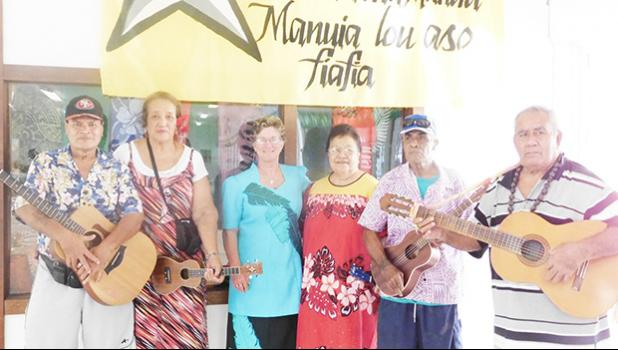 Director of Territorial Administration of Aging Evelyn Lili'o-Satele with Hula Fitness instructor Vatau Galeai and the band, which plays for the Hula fitness class. The hula class is from Monday to Thursday, at 7:30am to 8:30am. [photo: Ese Malala]