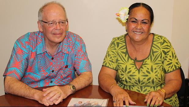 "Territorial Bank of American Samoa president, Philip Ware with TBAS chief operations officer, Makerita Polu following yesterday's news conference, where the officials announced that TBAS has opened its ""master account"" with the Federal Reserve Bank, San Francisco.  [photo: FS]"