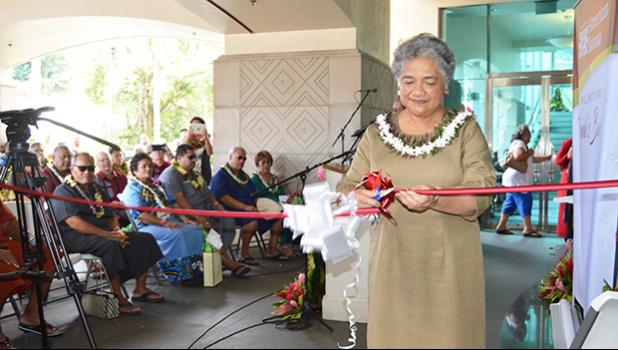 First Lady Cynthia Malala Moliga did the honors of cutting the ribbon to open the new Territorial Bank of American Samoa, located at the Centennial Building in Utulei — the former site of the main branch of the Bank of Hawaii in the territory. The bank opened its doors in October 2016. [Photo: AF]