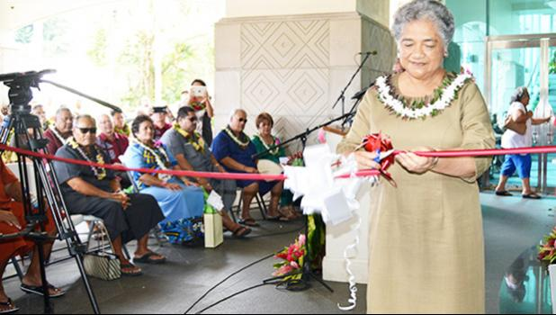 First Lady Cynthia Malala Moliga did the honors of cutting the ribbon to open the new Territorial Bank of American Samoa, located at the Centennial Building in Utulei —the former site of the main branch of the Bank of Hawaii in the territory. The bank opened its doors in October 2016. [Photo: AF]