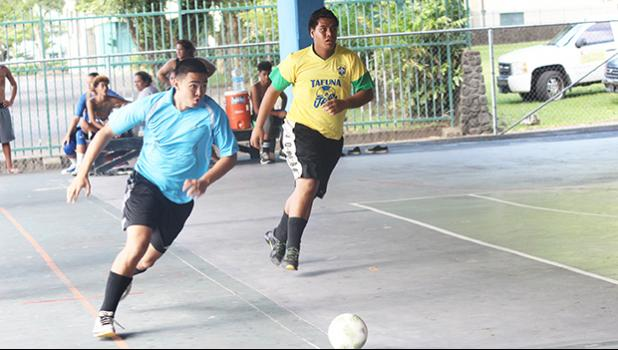 Kevin Ting of Green Bay B in action against Tafuna Jets 2 during the 9th Place Tier competition of the 2017 FFAS Futsal Tournament on Monday, May 29 at the Samoana High School gymnasium in Utulei.